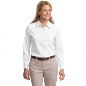 Port Authority L608 Ladies Long Sleeve Easy Care Shirt - White/Light Stone
