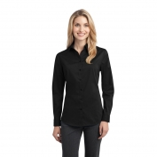 Port Authority L646 Ladies Stretch Poplin Shirt - Black