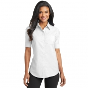 Port Authority L659 Ladies Short Sleeve SuperPro Oxford Shirt - White