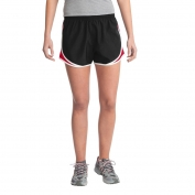 Sport-Tek LST304 Ladies Cadence Shorts - Black/True Red/White