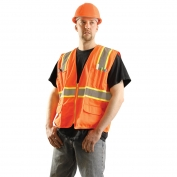 OccuNomix LUX-ATRANS Classic Solid Two-Tone Surveyor Safety Vest - Orange