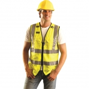 OccuNomix LUX-SSFULLZ Premium Solid Dielectric Surveyor Safety Vest - Yellow/Lime