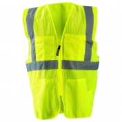 OccuNomix LUX-SSGCS Type R Class 2 Classic Mesh Surveyor Safety Vest - Yellow/Lime