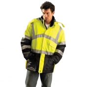 OccuNomix LUX-TJCW Type R Class 3 Insulated Cold Weather Parka - Yellow/Lime