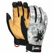Memphis MD100 Multi-Task Gloves - Synthetic Grain Deerskin Palm & Fingers - Digital Camo Fabric Back