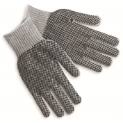 Memphis 9662M String Knit Gloves - 7 Gauge Cotton/Polyester - PVC Dots on Both Sides - Gray