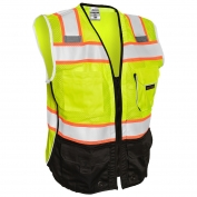 ML Kishigo 1515 Black Series Black Bottom Safety Vest - Yellow/Lime