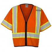 ML Kishigo 1566 Economy Class 3 Single Pocket Contrasting Mesh Safety Vest - Orange