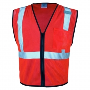 ML Kishigo 1719 Single Pocket Zipper Mesh Vest - Fluorescent Red