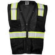 ML Kishigo B100 Enhanced Visibility Multi Pocket Mesh Safety Vest - Black