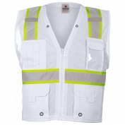 ML Kishigo B105 Enhanced Visibility Multi-Pocket Mesh Vest - White