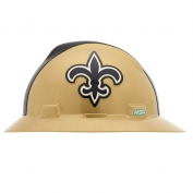 MSA 10194774 V-Gard NFL Full Brim Hard Hat - New Orleans Saints