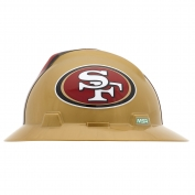 MSA 10194781 V-Gard NFL Full Brim Hard Hat - San Francisco 49ers