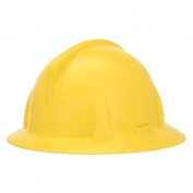 MSA 454712 Topgard Slotted Full Brim Hard Hat - 1-Touch Suspension - Yellow