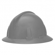 MSA 454713 Topgard Slotted Full Brim Hard Hat - 1-Touch Suspension - Gray