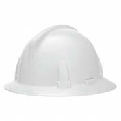 MSA 454719 Topgard Slotted Full Brim Hard Hat - 1-Touch Suspension - White