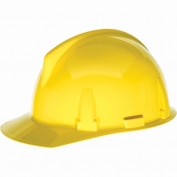 MSA 454721 Topgard Slotted Cap Style Hard Hat - 1-Touch Suspension - Yellow
