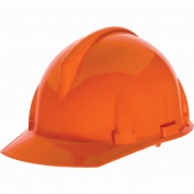 MSA 454725 Topgard Slotted Cap Style Hard Hat - 1-Touch Suspension - Orange