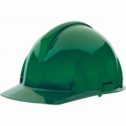 MSA 454726 Topgard Slotted Cap Style Hard Hat - 1-Touch Suspension - Green