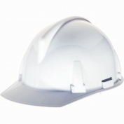 MSA 454728 Topgard Slotted Cap Style Hard Hat - 1-Touch Suspension - White