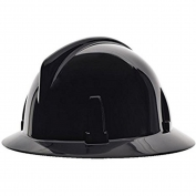 MSA 475394 Topgard Slotted Full Brim Hard Hat - Fas-Trac Suspension - Black