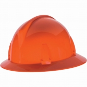 MSA 804397 Topgard Slotted Full Brim Hard Hat - Fas-Trac Suspension - Orange