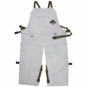 Memphis 38242MW Leather Welding Bib Apron with Split Legs - 24