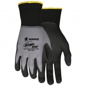 Memphis N96790 Ninja BNF Coated Gloves - 15 Gauge Nylon/Spandex Shell - Gray / Black