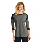 New Era LNEA104 Ladies Heritage Blend 3/4-Sleeve Baseball Raglan Tee - Black/Black Twist