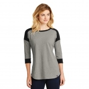 New Era LNEA104 Ladies Heritage Blend 3/4-Sleeve Baseball Raglan Tee - Black/Rainstorm Grey Heather