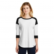 New Era LNEA104 Ladies Heritage Blend 3/4-Sleeve Baseball Raglan Tee - Black/White