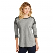 New Era LNEA104 Ladies Heritage Blend 3/4-Sleeve Baseball Raglan Tee - Graphite/Light Graphite Twist