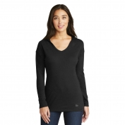 New Era LNEA131 Ladies Tri-Blend Performance Pullover Hoodie Tee - Black Solid