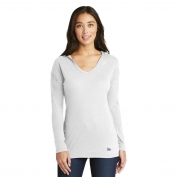 New Era LNEA131 Ladies Tri-Blend Performance Pullover Hoodie Tee - White Solid