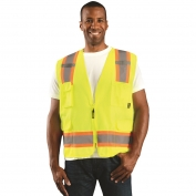 OccuNomix ECO-ATRANS Value Solid Two-Tone Surveyor Safety Vest - Yellow/Lime