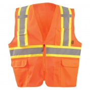 OccuNomix ECO-ATRNSMX Value Two-Tone Surveyor X-Back Mesh Safety Vest - Orange