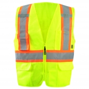OccuNomix ECO-ATRNSMX Value Two-Tone Surveyor X-Back Mesh Safety Vest - Yellow/Lime