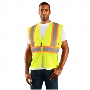 OccuNomix ECO-IM2TZ Type R Class 2 Value Mesh Two-Tone Safety Vest - Yellow/Lime