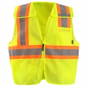 OccuNomix ECO-IMB2T 5 Point Breakaway Two-Tone Mesh Safety Vest - Yellow/Lime