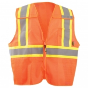 OccuNomix ECO-IMB2TX 5 Point Breakaway Two-Tone X-Back Mesh Safety Vest - Orange