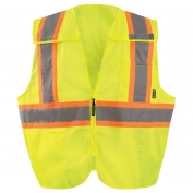 OccuNomix ECO-IMB2TX 5 Point Breakaway Two-Tone X-Back Mesh Safety Vest - Yellow/Lime