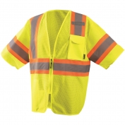 OccuNomix  ECO-IMZ32T Type R Class 3 Economy Two-Tone Mesh Safety Vest - Yellow/Lime