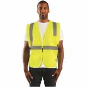 OccuNomix ECO-ISZ Class 2 Value Solid Safety Vest with Zipper - Yellow/Lime