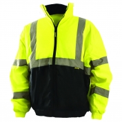 OccuNomix LUX-250-JB-B Value Class 3 Black Bottom Bomber Jacket - Yellow/Lime
