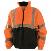 OccuNomix LUX-250-JB-B Value Type R Class 3 Black Bottom Bomber Jacket - Orange