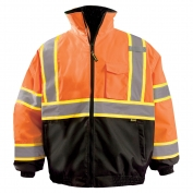 OccuNomix LUX-350-B2X Two-Tone X-Back Black Bottom Bomber Jacket - Orange