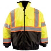 OccuNomix LUX-350-B2X Two-Tone X-Back Black Bottom Bomber Jacket - Yellow/Lime