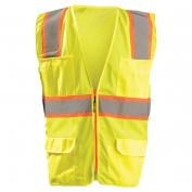 OccuNomix LUX-ATRANS Classic Solid Two-Tone Surveyor Safety Vest - Yellow/Lime