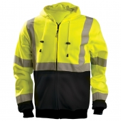 OccuNomix LUX-HZSWTBX Class 3 X-Back Black Bottom Safety Hoodie - Yellow/Lime