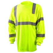 Occunomix LUX-LSETP3B Class 3 Wicking Birdseye Mesh Long Sleeve Safety T-Shirt - Yellow/Lime